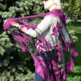 Ажурная прозрачная летняя лиловая шаль/палантин