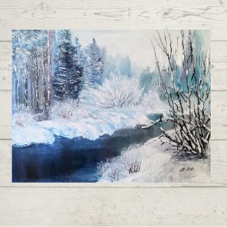 Зимний пейзаж, 35х45см, зима в живописи, природа зимой