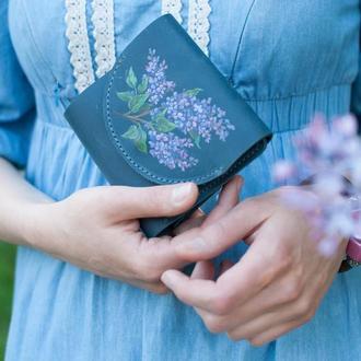 Голубой кожаный кошелек портмоне с любой роспиью под заказ