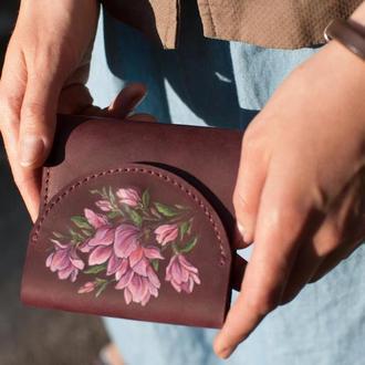 Маленький кошелек кожаный с тиснением или росписью под заказ