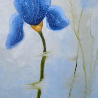Ирис картина 30х50см, цветы в живописи, ирисы маслом Рябкова Людмила