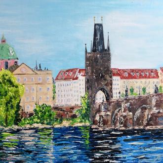 Картина 40х50см, живопись Прага, река мастихином, городской пейзаж Людмила Рябкова
