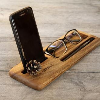 Деревянный Мини Держатель Органайзер Док Станция Для Телефона Очков Планшета Смартфона iPhone Ручки