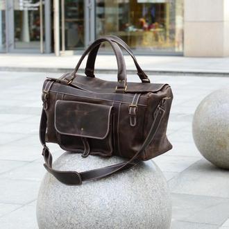 Брутальная кожаная дорожная сумка, Спортивная сумка из винтажной кожи