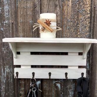 Деревянная вешалка с полкой Настенная ключница с полкой Полка с крючками в стиле прованс