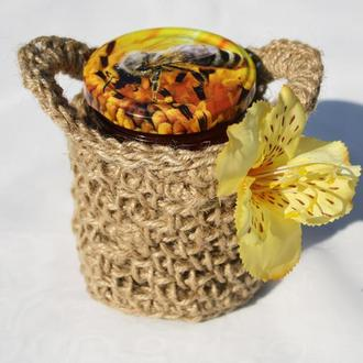Вязаная мини корзинка из джута для подарка и декора 9х8