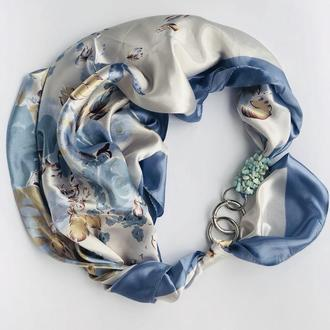 """Голубые грезы"" атласный  шарф,  атласный платок, шарф-колье, шарф-чокер, шейный платок"