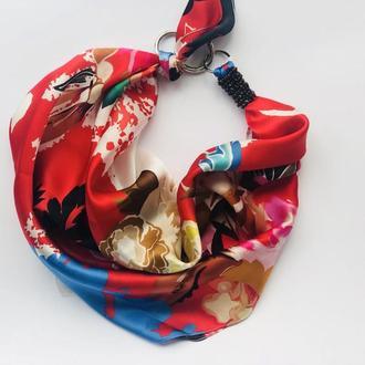 """""""Яркий сад"""" 100%Шелковый шарф, платок, шарф-колье, шарф-чокер, шейный платок"""