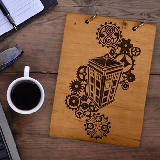 """Блокнот в деревянной обложке """"Doctor who. Доктор Кто?"""""""