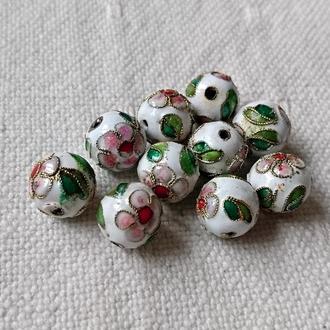 бусины с Цветками, эмаль