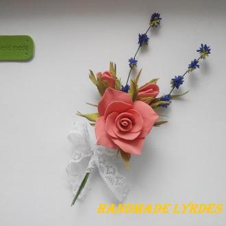 """Брошь - бутоньерка """"Розы с лавандой"""""""