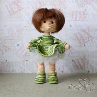 Куколка в зеленом платье Амигуруми Кукла вязаная крючком Подарок девочке