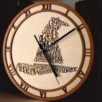 """Настенные часы из древесины """"Гарри Поттер """""""