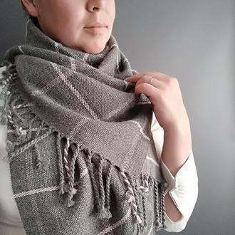 Тканый шарф Классика серого с розовым