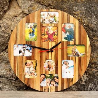 Именные Часы Для Дома На Стену - Деревянные С Фотографиями Дизайнерские Авторские Настенные Loft