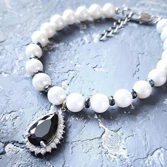 Браслет з натуральних перлів з підвіскою браслет из натурального жемчуга праздничный свадебный