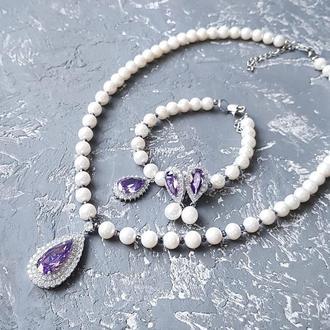 Комплект  з натуральних перлів кольє браслет та сережки украшения из натурального жемчуга на свадьбу