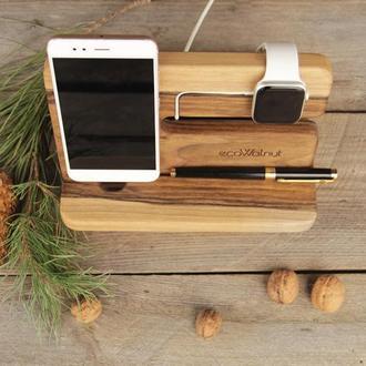 Деревяные Подставки Для Телефонов iPhone iWatch Часы Apple Из Дерева - Отличный Подарок Для Друзей
