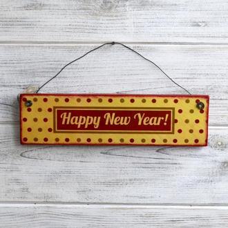 Новогодняя табличка в винтажном стиле №4