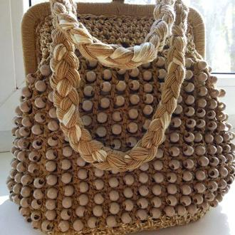 Эксклюзив сумочка вязаная Сумочка на фермуаре (металлической раме)