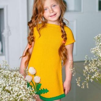 Платье детское «одуванчик», желтое платье, весеннее