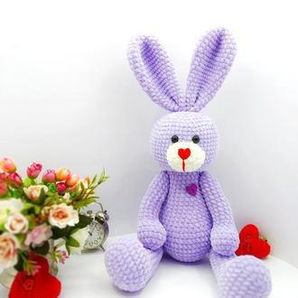 Вязаная плюшевая игрушка зайчик Тиша (заяц, зайка, кролик)