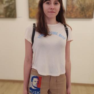 Шорти з вишитим портретом Ілона Маска в стилі поп-арт