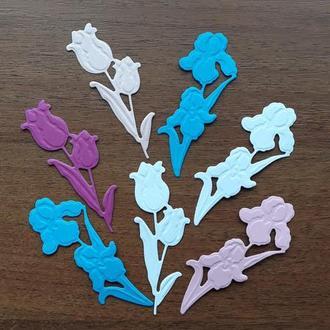 вырубка для скрапбукинга цветы, декор для открыток