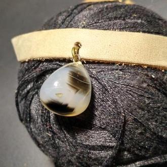 Кожаный чокер с натуральным камнем Агат