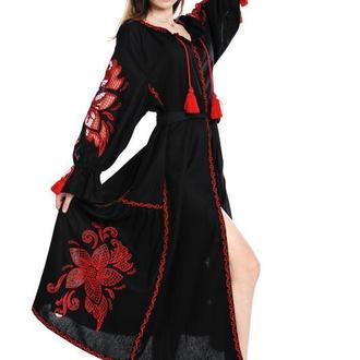 """Вышитое платье """"Диво-квітка"""" макси, черный лен"""