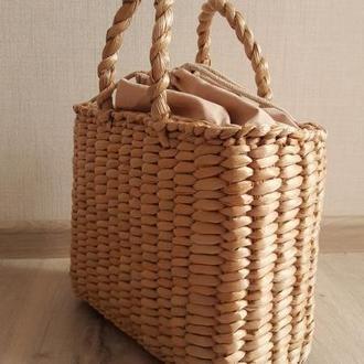 Сумка соломенная с подкладкой #беж сумочка солом'яна