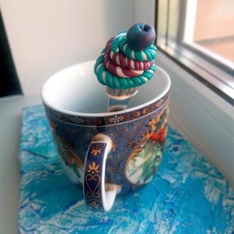 Чайная ложка с декором из полимерной глины