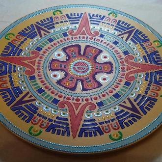 деревянная расписная тарелка в стиле Майя