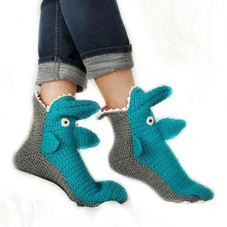 Синие носки-акулы