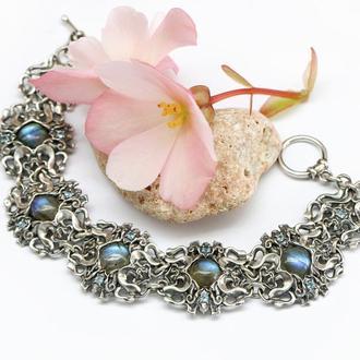 Серебряный браслет с натуральными камнями, серебро 925 пробы