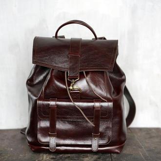 Большой кожаный рюкзак Trevel коричневого цвета