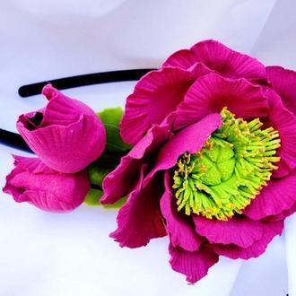 Ободок Японский пион Цветы в волосы