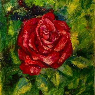 """Червона троянда"". Картина маслом."