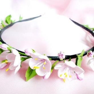 Ободок Цветы вишни Цветы в волосы
