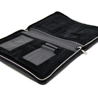 Кожаная папка для документов формата A5 и А4 GA-1287-1md TARWA черная
