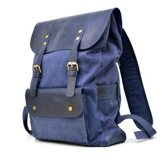 Рюкзак унисекс микс ткани синий канвас и синей кожи KK-9001-4lx TARWA Double Blue