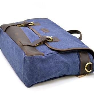 Портфель мужской из ткани канваc с кожаными вставками RK-7880-4lx TARWA