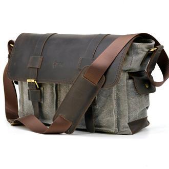 Мужская сумка через плечо серая микс ткани канвас и крейзи хорс RG-6690-4lx TARWA