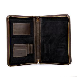 Кожаная папка для документов формата A5 и А4 TC-1287-1md TARWA коричневая