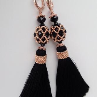 Розкішні чорно-золоті сережки