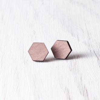 Розовые деревянные сережки купить Киев