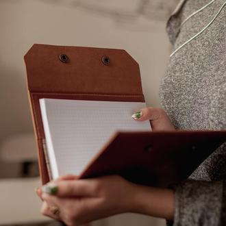 Кожаная обложка на ежедневник А5, обложка для блокнота из натуральной кожи_коричневый