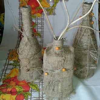 декоративная ваза( бутылка) в стиле бохо. лофт.этно-актуальная деталь интерьера