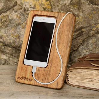 Подставка для iPhone из Дерева на Рабочий Стол Настольный Органайзер из Дерева Подарок с Логотипом