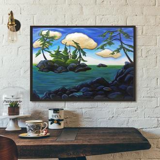Остров на реке (картина масло/холст) 60х80х2 см